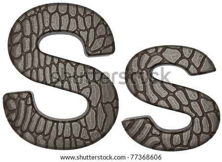 Alligator skin font S lowercase and capital letters isolated on white - stock photo