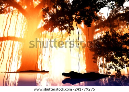 Alligators in Deep Jungle Wetland in the Sunset Sunrise 3D artwork  - stock photo