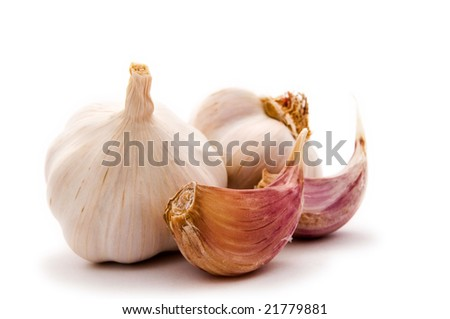 Allium sp. Garlic is widely used for its pungent flavor. - stock photo