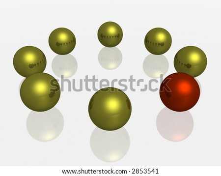 Allocated from of some a red sphere - stock photo