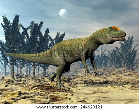 Allosaurus dinosaur walking among pachypteris trees by cloudy night - 3D render - stock photo