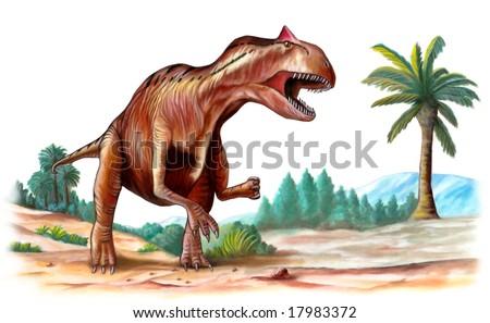 Allosaurus, jurassic era predator, running through a prehistoric landscape. Digital illustration. - stock photo