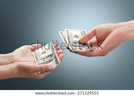 Allowance, alimony, getting. - stock photo