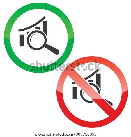 Allowed and forbidden signs with bar graphic under loupe, isolated on white