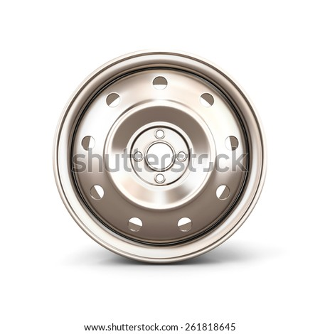 Alloy Wheel Rim front view close-up on a white. 3d illustration. - stock photo
