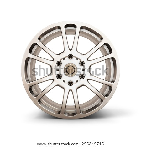 Alloy Wheel Rim front view isolated on white background. 3d render image. - stock photo