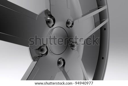 Alloy Wheel Stylish Studio Render Close-up - stock photo