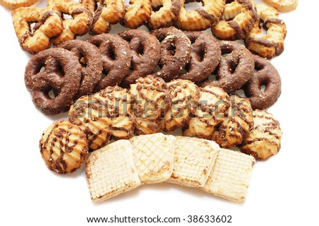 Allsorts cookies isolated on white background