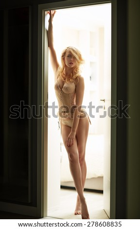 Alluring blond woman wearing sensual lingerie - stock photo