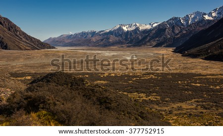 Alluvial plain of Mountain Cook National park, New Zealand