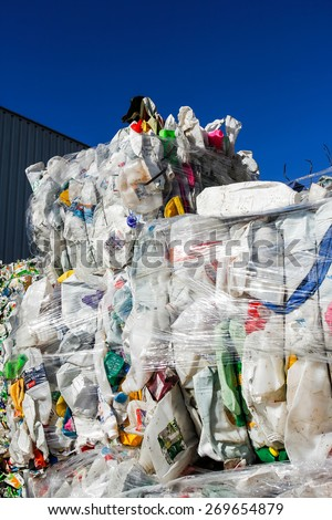 Almada, Portugal 2014: Pile of waste and trash for recycling or safe disposal, . - stock photo