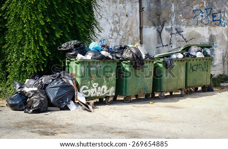 Almada, Portugal 2014: Pile of waste and trash, Great for recycle and environmental themes. - stock photo