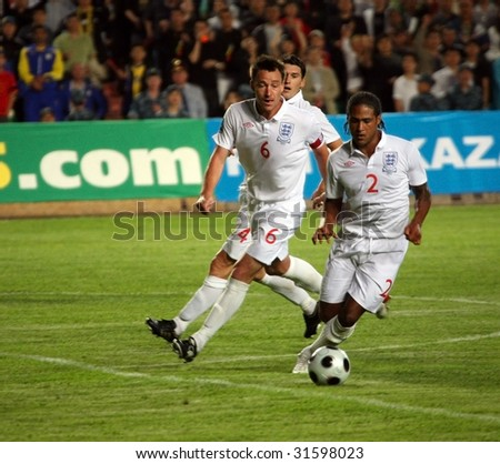ALMATY - JUNE 6: Footballers Terry and Johnson participate Kazakhstan v England, FIFA World Cup European Qualifying, Group Six, 6th June 2009 - stock photo