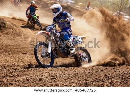 ALMATY, KAZAKHSTAN - APRIL 16,2016: Motocross competition - stock photo