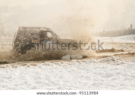 ALMATY, KAZAKHSTAN - FEBRUARY 11: Off-road vehicle JEEP (No. 10) 4x4  during festival, devoted to 20 Th anniversary of independence of Kazakhstan on FEBRUARY 11, 2012 in Almaty, Kazakhstan - stock photo
