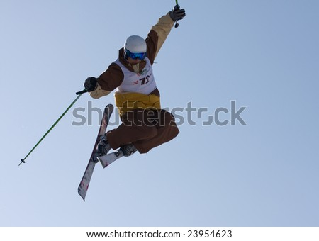 ALMATY, KAZAKHSTAN- JANUARY 24: Mercur Open Cup, Shkelikov Egor, competing on mogul, January 24, 2009 in Almaty, Kazakhstan.