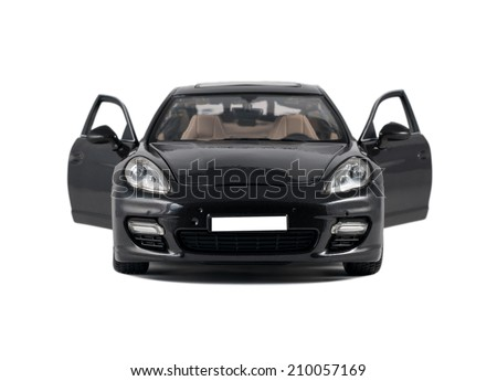 Almaty, Kazakhstan - 10 March 2014: Collectible toy car Porsche Panamera Turbo front view with open door on a white background - stock photo