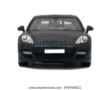 Almaty, Kazakhstan - 10 March 2014: Collectible toy car Porsche Panamera Turbo on a white background - stock photo