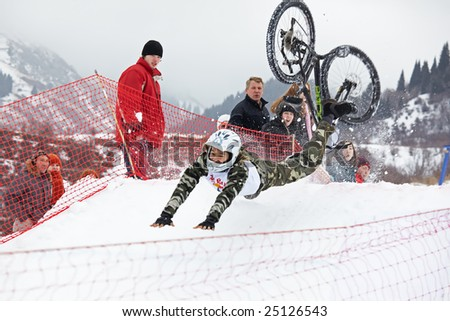 Almaty, Kazakstan - February 15: Red Bull Snow BikeCross, February 15, 2009 in Almaty, Kazakstan - stock photo