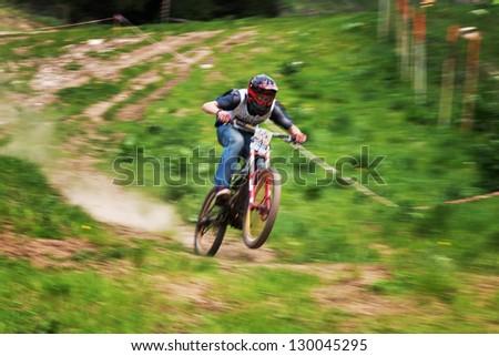 ALMATY, KAZAKSTAN - MAY 26: R.Alabujev (N55) in action at Freestyle Bike Session in Almaty, Kazakstan MAY 26, 2012. - stock photo