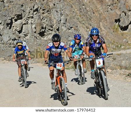 Almaty, Kazakstan - September 21: Mountain Bike marathon Batan-Bartogay  September 21, 2008 in Almaty, Kazakstan. - stock photo