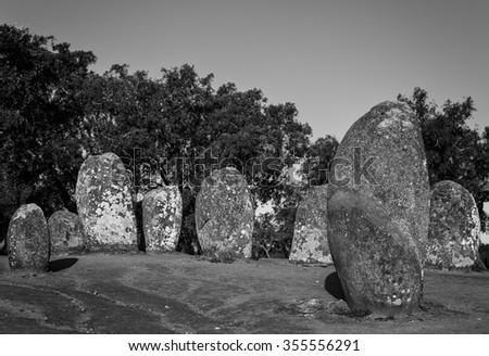 Almendres Cromlech. The Almendres megalithic enclosure is the largest megalithic monument in the Iberian Peninsula and one of. Located near Evora. Portugal.