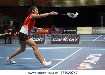 ALMERE - FEBRUARY 2: Gayle Mahulette wins the gold medal in the National Championships badminton 2014 in Almere, The Netherlands on February 2, 2014. - stock photo
