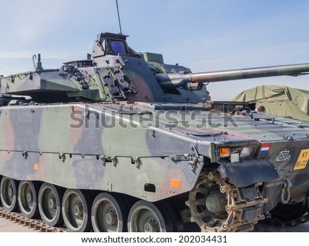 ALMERE, NETHERLANDS - 12 APRIL 2014: Dutch military armored fighting vehicle on display during the first National Security Day held in the city of Almere