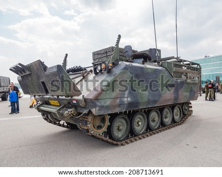 ALMERE, NETHERLANDS - 23 APRIL 2014: Dutch military armored fighting vehicle on display during the National Army Day in Almere can be inspected by the general public at close range