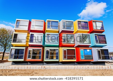 Almere, Netherlands - April 19, 2016: modern stackable student apartments called spaceboxes in Almere. Almere is famous for its extraordinary and experimental architecture - stock photo