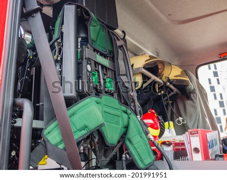 ALMERE, NETHERLANDS - 12 APRIL 2014: Part of the interior of a modern Dutch fire engine equipped for rescue divers on display during the first National Security Day held in the city of Almere