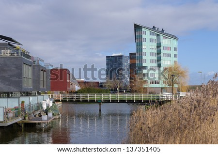 ALMERE, NETHERLANDS - FEBRUARY 2: Modern architecture on february 2, 2013 in Almere, Netherlands. It is the youngest and fastest growing city in the country, founded around 1975.
