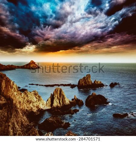 Almeria Cabo de Gata las Sirenas point rocks in Mediterranean sea of Spain - stock photo