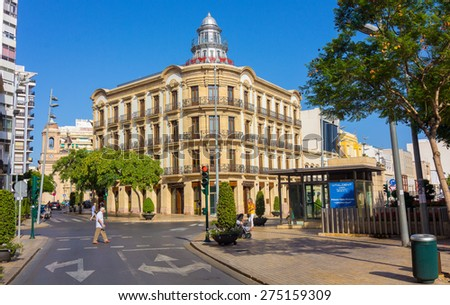 "Almeria, Spain September 1 2014: Almeria famous building ""House of Butterflies"", on September, 1, 2014 in Almeria, Spain - stock photo"