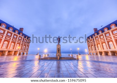 Almirante Brown Square in the coastal city of Mar del Plata in Buenos Aires province, Argentina - stock photo