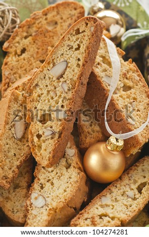 Almond biscotti with aniseed for Christmas - stock photo