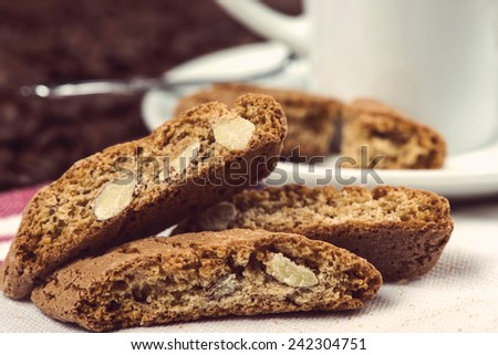 almond biscuits with cup of coffee - stock photo