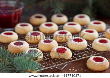 Almond biscuits with jam filling, selective focus - stock photo