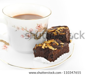 Almond brownies and  cup of coffee