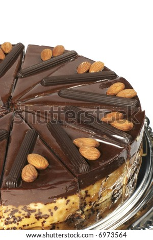 almond cake with chocolate stuffing and glaze