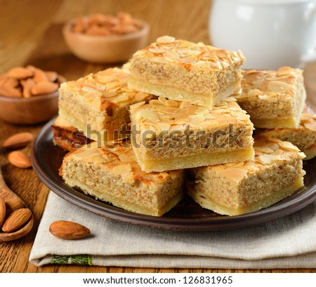 almond cakes on a brown table