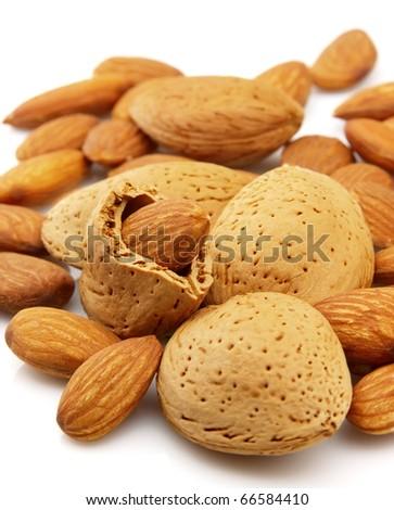 Almond closeup on white background - stock photo