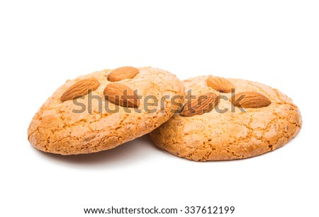almond cookies with nuts on a white background - stock photo
