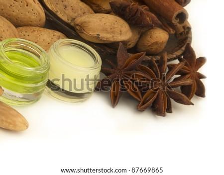 almond cosmetics with anise - stock photo