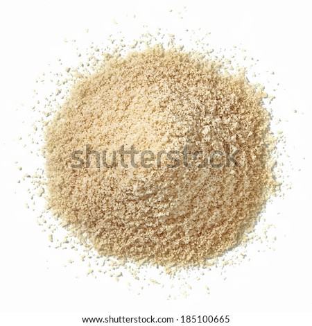 Almond flour pile from top on white background