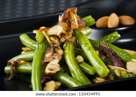 almond green beans - stock photo