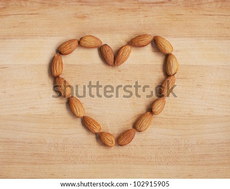 Almond Heart - stock photo