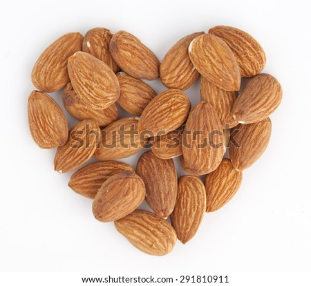 Almond heart isolated on white background