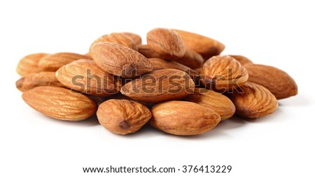 Almond kernels, isolated on white - stock photo