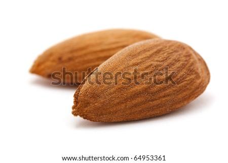 almond macro isolated on white - stock photo